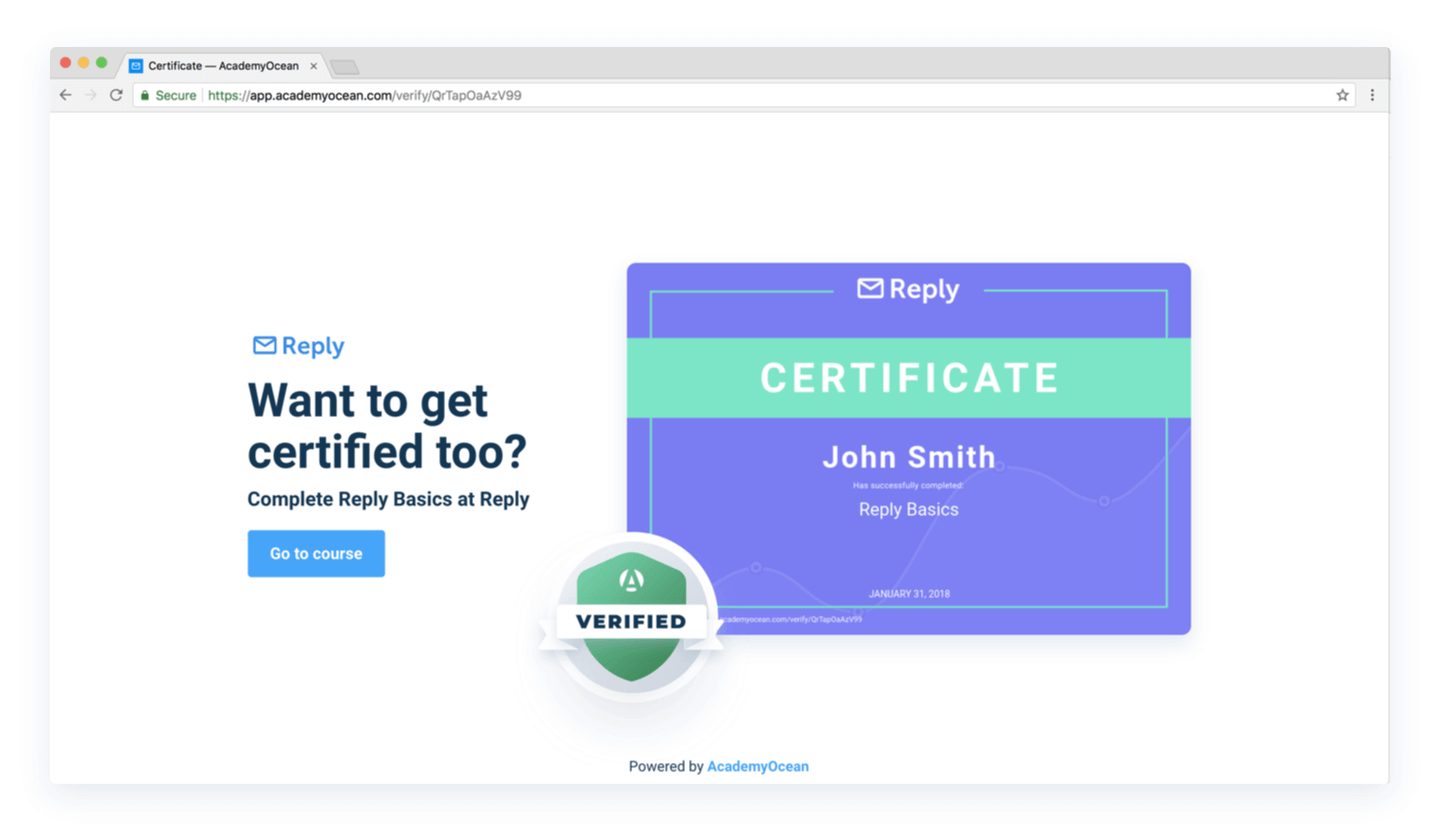 Reply Academy certificate verification page