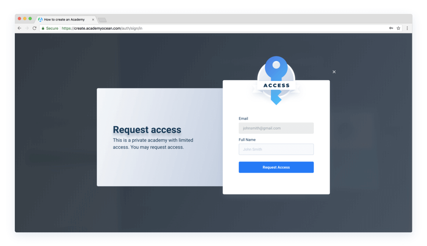 Access request page in a private Academy