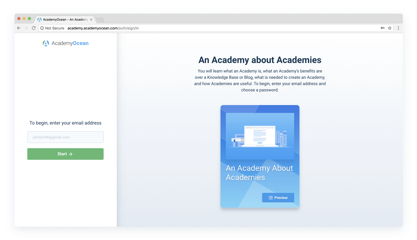 Academy about Academies landing page