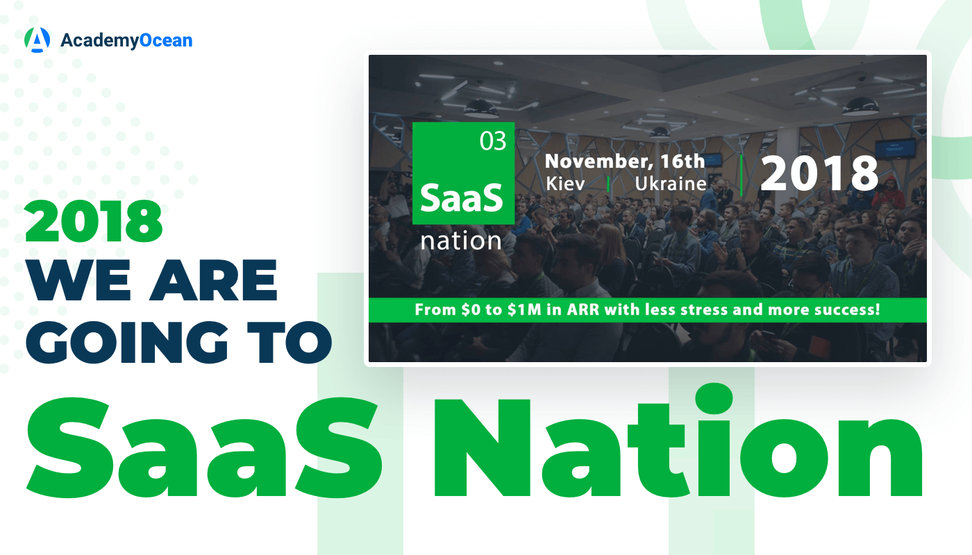a poster with an audience full of speakers and SaaS Nation emblem